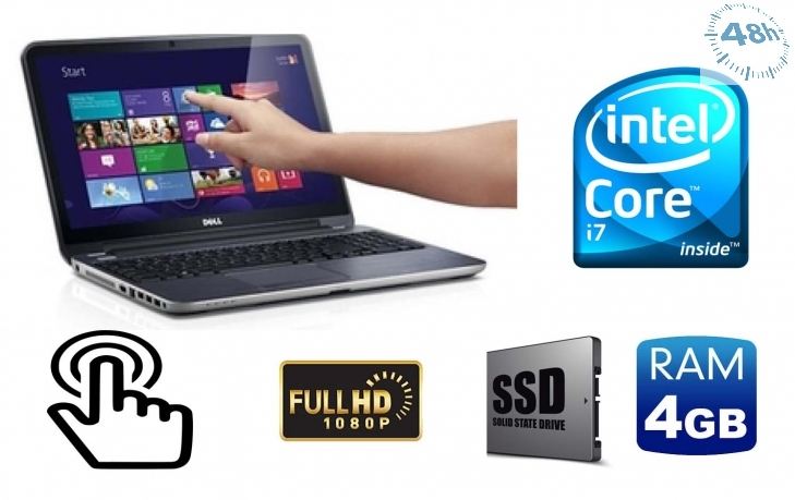 "DELL Latitude E7240 2.1GHz i7-4600U 12.5"" 4GB-256 SSD Touch screen FULL HD con windows 7-10 pro"