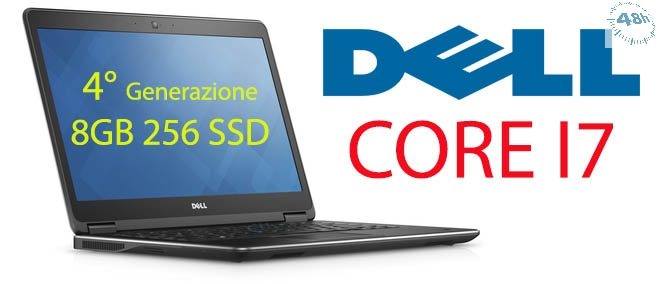 "DELL Latitude E7440 3.3GHz max turbo i7-4600U 14"" 8 Gb 256 ssd (sata 6) dvd-rw-web cam con windows 7 -10 pro-Garanzia 12 mesi"