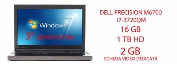DELL PRECISION M6700 i7-3740QM 16 GB  2 HD 1 DA TB  + 500 HD DVD-RW SCHEDA VIDEO DEDICATA DA 2GB NVIDA QUADRO K3000M WINDOWS  7 PRO GARANZIA 12 MESI
