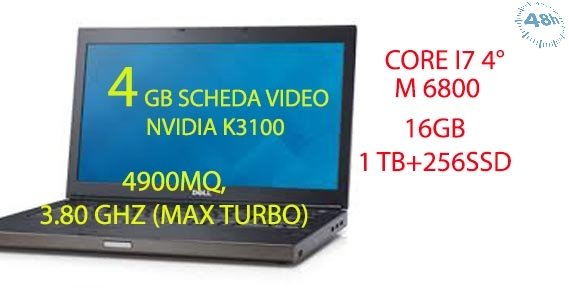 "DELL Precision M6800 -17"" notebooks (i7-4900MQ, 3.80 GHZ (MAX TURBO) 16 GB- ( 2 X 8GB)  1 TB +256 SSD DVD±RW, DualPoint, 4GB SCHEDA VIDEO DEDICATA NVIDIA QUADRO K 3100 Windows 7-10 Professional, 64-biT"