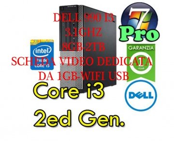 Dell	990	Desktop	i3-2100	3.1 8GB-2TB-WIFI-SCHEDA VIDEO  (NUOVA ) DA 1GB DVD-RW WINDOWS 7-10 PRO -GARANZIA 12 MESI
