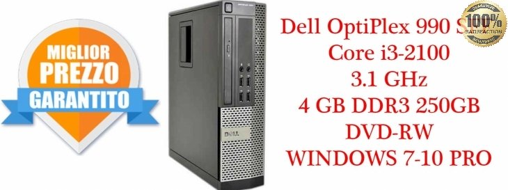 Dell OptiPlex 990 SFF Core i3-2100 3.1 GHz 4GB DDR3 250GB HDD/DVD-RW WINDOWS 7-10 PRO