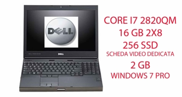 Dell Precision M4600 Mobile Workstation - 2620M Core i7 2.7 GHz -16GB 2X8 256 SSD CON SCHEDA VIDEO DEDICATA DA 2GB K1000 NVIDIA