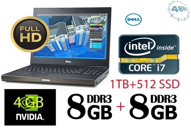 "Dell Precision M6800 17.3"" Led Notebook - Intel Core I7 I7-4800mq 2.70 Ghz - Black - 16 Gb Ram - 1 Tb Hd + 1 HD ssd da 500 NUOVO - Dvd-writer - Nvidia, Intel Quadro K3100m da 4gb Windows 7 -10 -Garanzia 12 mesi"
