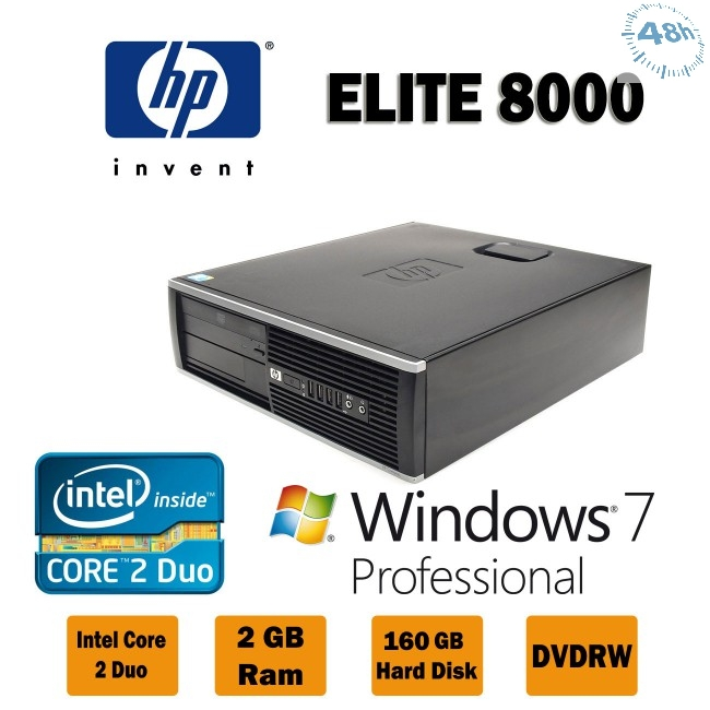 HP Compaq 8000 Elite Business E5300 2,70Ghz 2GB Ram 250 GB DVD Windows 7 -10 Professional