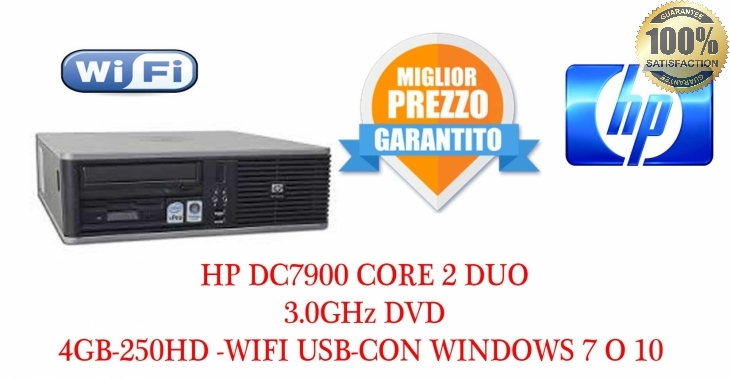 HP Compaq dc7900 Core 2 Duo E8400 3.0GHz 4GB-250HD-WIFI-USB DVD WINDOWS 7 -10 PRO