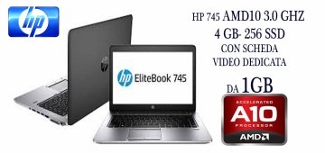 HP EliteBook 745 G2 3.0GHz turbo max  A6 Pro 1 ram da 4 GB -256 SSD  con scheda video dedicate da 1gb AMD –Windows 7-10 pro