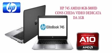 HP EliteBook 745 G2 3.3GHz turbo max  A6 Pro 1 ram da 8 GB -500 HD con scheda video dedicate da 1gb –windows 7-10 pro