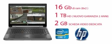 "HP EliteBook Mobile Workstation 8570w - 15.6"" - Core I7 3720-40Qm 2.6 mhz - Windows 10Professional 64-bit – 8 GB RAM – 1 TB  HDD scheda video dedicata da 2gb nvida quadro k1000"