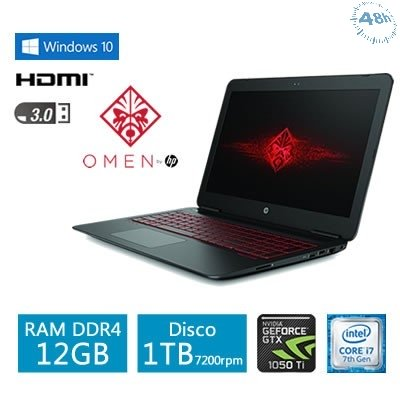 "HP Omen 15-ax250wm, 15.6"" Full-HD IPS Display, Core i7-7700HQ QC Processor, NVIDIA GTX 1050Ti 4GB Graphics Card, 12GB Memory, 1TB Hard Drive-Nuovo con confezione originale"