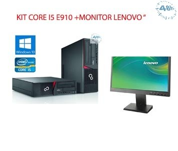 KIT PC CON MONITOR =PC Fujitsu Esprimo E910 Core i5-3470 3.2GHz 4Gb Ram 500Gb DVD-RW –WINDOWS 7 O 10 PRP + Monitor 22 Lenovo L2250-GARANZIA 12 MESI