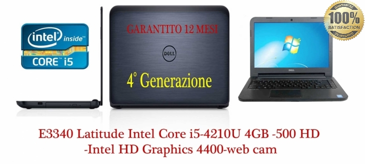 Latitude E3340 Latitude  Intel Core i5-4210U (3M Cache, up to 2.70 GHz), 4GB 1600MHz DDR3L, 500GB HDD 7200rpm, Intel HD Graphics 4400-web cam -Garanzia diretta dell fino al 29.06.2018 +12 mesi-Come Nuovo.