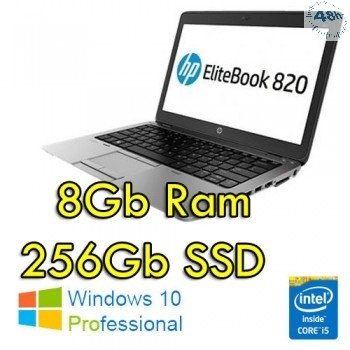 "Notebook HP EliteBook 820 G1 Core i5-4300U 2.9 GHZ MAX TURBO 4Gb 256Gb SSD 12.5"" HD AG LED Windows 10 Professional Leggero GARANZIA 12 MESI"