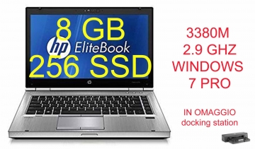 "Notebook HP EliteBook 8470p (COME NUOVO) Core i5-3230M 2.6GHz 8Gb Ram 256 SSD 14.1"" LED HD DVD-RW-WIFI-WEBCAM-CON WINDOWS 7-10 PRO"