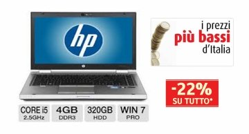 "Notebook HP Elitebook 8460p Core i5 2520 M 2.5GHz 4Gb 320Gb DVD±RW WIFI 14.1"" LED HD Windows 10 Professional (GRADO B SOLO CHIUSURA ROTTA)"