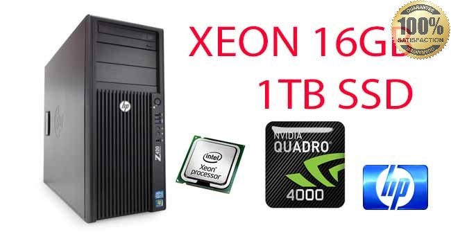 Workstation HP Z420 Xeon QUAD Core E5-1620 3.6GHz 16Gb 1TB SSD DVD-RW-QUADRO K4000 2Gb Windows 10 Professional